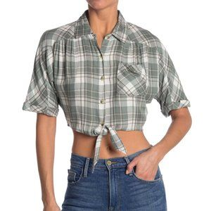 NWT Cropped Plaid Western Tie Relaxed Top